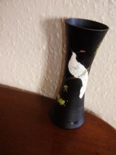 OLD HANDPAINTED SATIN BLACK VASE WITH EXOTIC BIRD APPLIED PEARL BEAD PLUMAGE